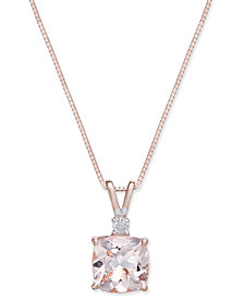 Morganite (1-1/3 ct. t.w.) & Diamond Accent Pendant Necklace in 14k Rose Gold
