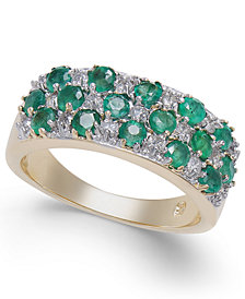 Emerald (1-1/5 ct. t.w.) & Diamond (1/3 ct. t.w.) Ring in 14k Gold