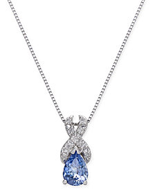 Tanzanite (3/4 ct. t.w.) & Diamond(1/10 c.t.t.w.) Pendant Necklace in 14k White Gold