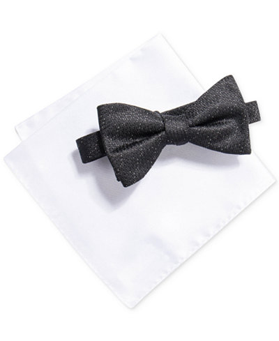 Alfani Men's Fulton Solid Bow Tie & Pocket Square Set, Created for Macy's