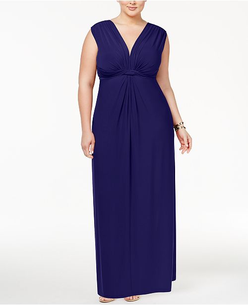 ece8fecbf01f5 ... Love Squared Trendy Plus Size Sleeveless Knotted Maxi Dress ...
