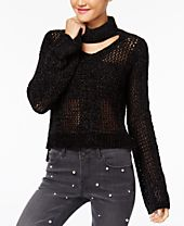 XOXO Juniors' Metallic Bell-Sleeve Choker Sweater