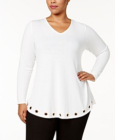 Plus Size Twist-Back Grommet Tunic