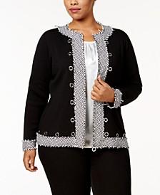 Plus Size Tweed-Trim Cardigan