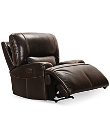 CLOSEOUT! Calver Power Reclininer With Power Headrest and USB Power Outlet, Created for Macy's