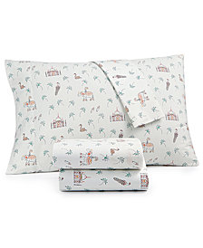 CLOSEOUT! Whim by Martha Stewart  Collection Novelty Print 4-pc Queen Sheet Set, 200 Thread Count 100% Cotton Percale, Created for Macy's
