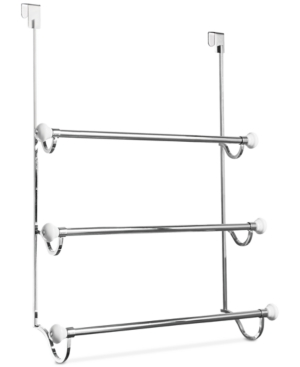 Interdesign York Chrome 3-Bar Shower Door Towel Rack Bedding