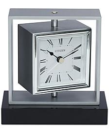 Decorative Accent Silver-Tone & Black Clock