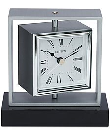 Citizen Decorative Accent Silver-Tone & Black Clock