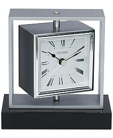 Citizen Decorative Accent Silver-Tone & Black Clock