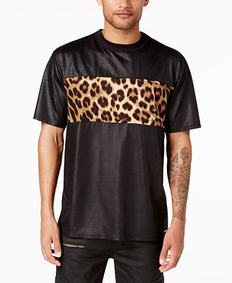 GUESS Men's Mason Leopard-Print Panel T-Shirt