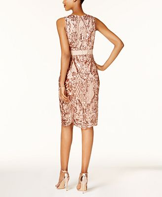 Adrianna Papell Sequined Mesh Cocktail Dress Dresses Women Macy S