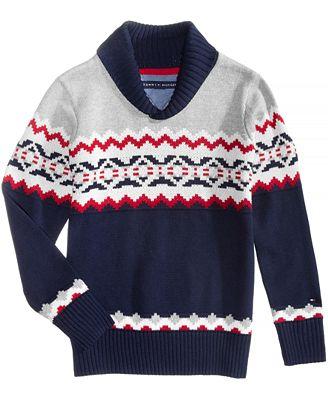 Tommy Hilfiger Fair Isle Shawl-Collar Cotton Sweater, Big Boys ...