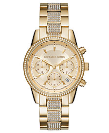 Michael Kors Women's Chronograph Ritz Gold-Tone Stainless Steel Bracelet Watch 37mm
