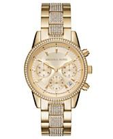 2fe83ef64b82 Michael Kors Women s Chronograph Ritz Gold-Tone Stainless Steel Bracelet  Watch 37mm