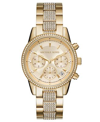Michael Kors Women S Chronograph Ritz Gold Tone Stainless Steel