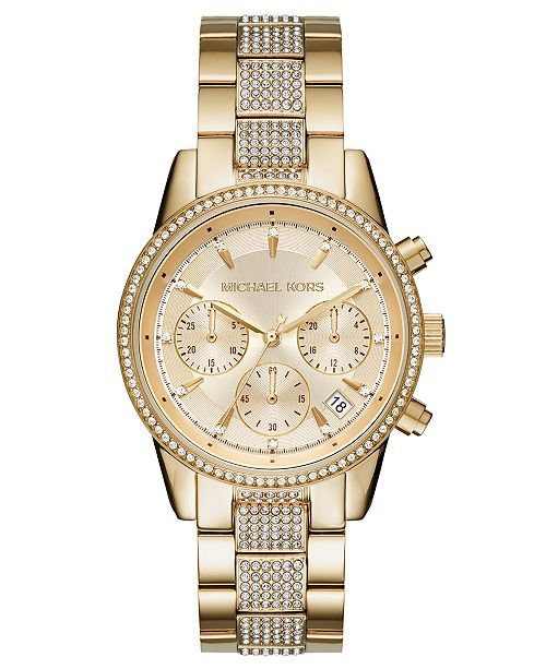 3a4ee00d16ed ... Michael Kors Women s Chronograph Ritz Gold-Tone Stainless Steel Bracelet  Watch ...
