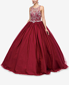 Dancing Queen Juniors' Embellished Illusion Gown