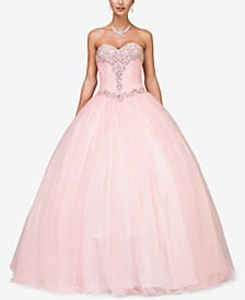 Juniors' Embellished Pleated Strapless Gown