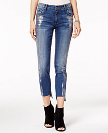 STS Blue Taylor Straight Leg with Silver Foil Detail Jeans