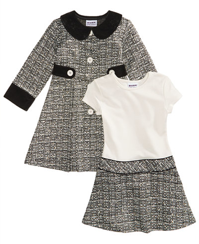 Blueberi Boulevard 2-Pc. Tweed Coat and Dress Set, Little Girls (4 ...