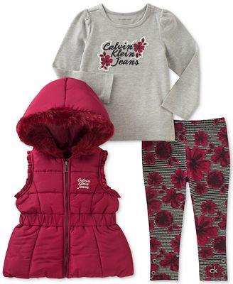 Calvin Klein 3-Pc. Hooded Vest, T-Shirt & Leggings Set, Toddler Girls