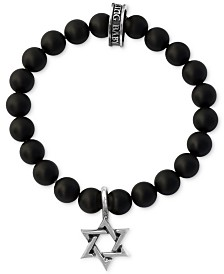 King Baby Men's Black Onyx Beaded Star Charm Stretch Bracelet in Sterling Silver