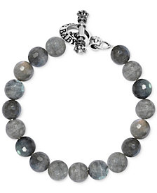 King Baby Men's Labradorite Beaded Bracelet in Sterling Silver