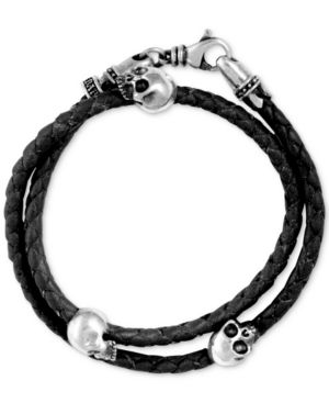 King Baby Men's Hamlet Skull Braided Leather Wrap Bracelet in Sterling Silver
