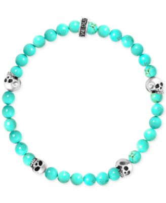 108b7abb4d4e1 Men's Stabilized Turquoise Bead (6mm) Skull Stretch Bracelet in Sterling  Silver