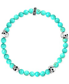 Men's Stabilized Turquoise Bead (6mm) Skull Stretch Bracelet in Sterling Silver