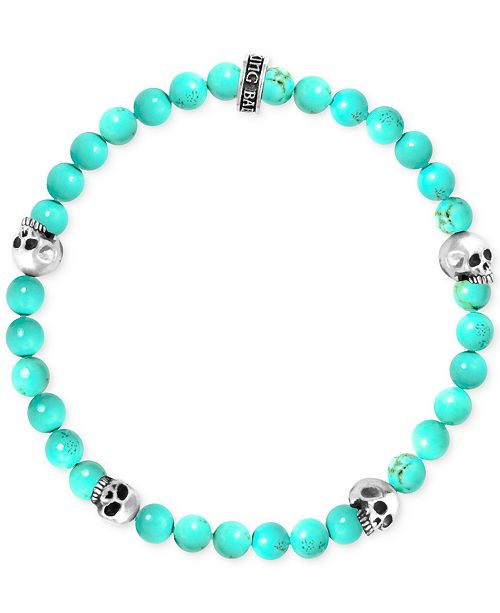King Baby Men's Stabilized Turquoise Bead (6mm) Skull Stretch Bracelet in Sterling Silver