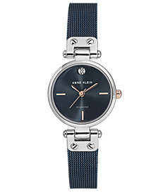 Anne Klein Women's Diamond-Accent Blue Stainless Steel Mesh Bracelet Watch 26mm