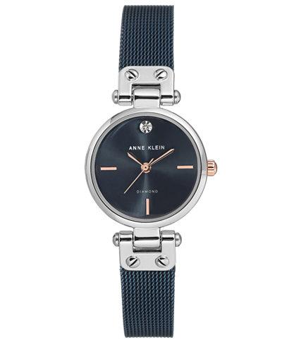 Anne Klein Women's Diamond-Accent Blue Stainless Steel Mesh Bracelet Watch 26mm