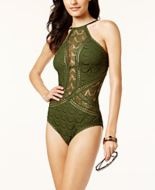 Becca High-Neck Illusion Crochet One-Piece Swimsuit
