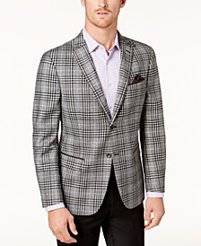 Tallia Men's Slim-Fit Black & White Plaid Soft-Constructed Sport Coat