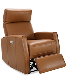 CLOSEOUT! Ceraza Leather Power Recliner With Articulating Headrest & USB Power Outlet