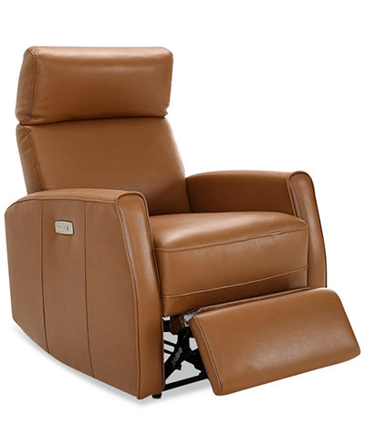 Ceraza Leather Power Recliner With Articulating Headrest & USB Power Outlet