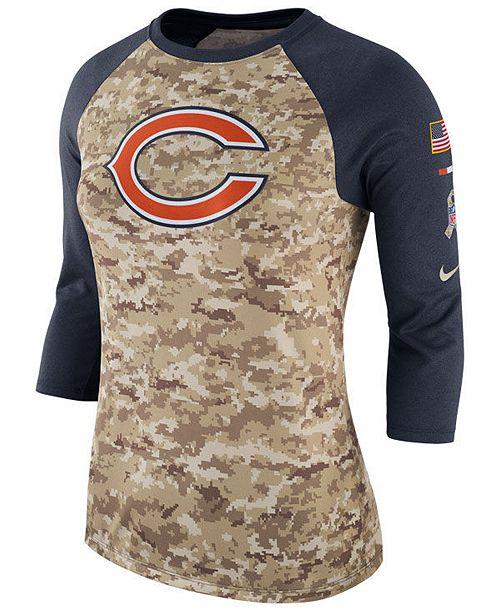 san francisco bfe57 d7529 Nike Women's Chicago Bears Salute To Service Three-Quarter ...