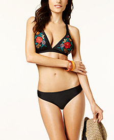 Jessica Simpson Cha Cha Embroidered Triangle Top & Shirred Cheeky  Bikini Bottoms
