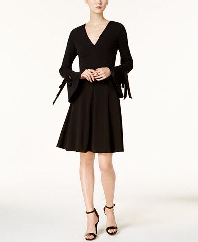 Calvin Klein V-Neck Bell-Sleeve Dress