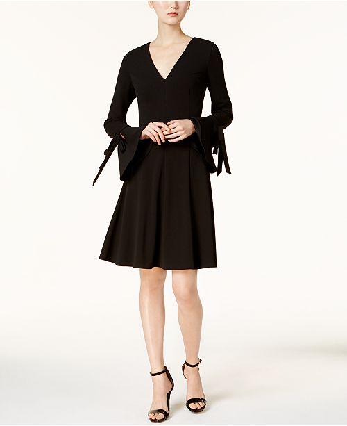 9dc701a693b5f Calvin Klein V-Neck Bell-Sleeve Dress   Reviews - Dresses - Women ...