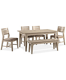 CLOSEOUT! Kips Cove Dining Furniture, 6-Pc. Set (Dining Table, 4 Side Chairs & Bench)