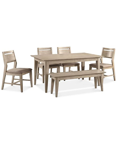 Kips Cove Dining Furniture 6 Pc Set Table 4 Side Chairs Bench