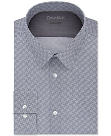 Calvin Klein X Men's Extra-Slim Fit Thermal Stretch Performance Navy Print Dress Shirt