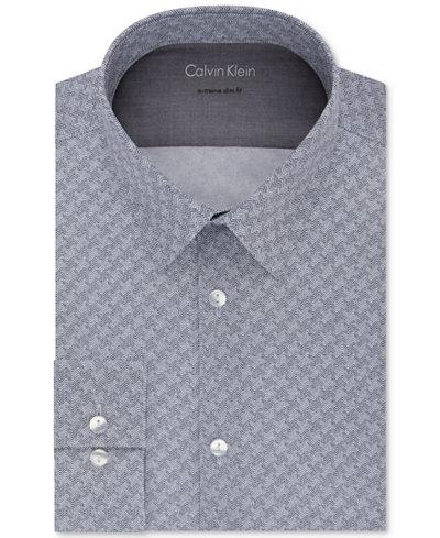 Calvin Klein X Men's Extra-Slim Fit Thermal Stretch Performance Navy Print Dress Shirt