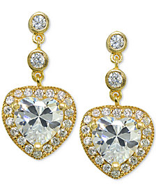 Giani Bernini Cubic Zirconia Heart Drop Earrings, Created for Macy's