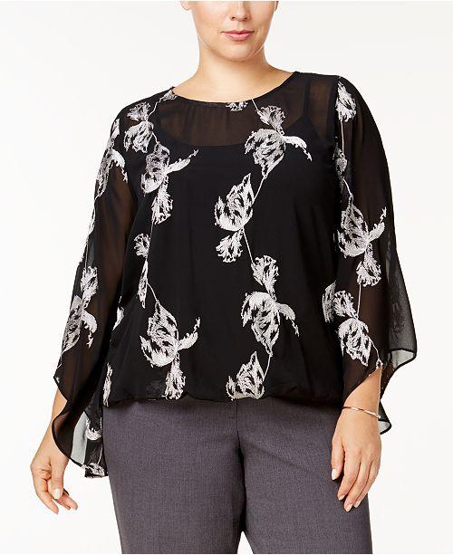 Alfani Plus Size Embroidered Kimono-Sleeve Top, Created for Macy's