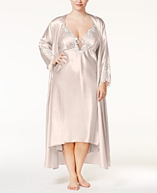 Plus Size Satin Stella Gown and Robe Separates