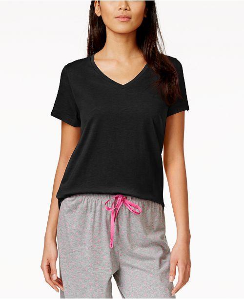 Hue Black Sleeve Solid Sleep Tee Short W4wvgqf4S